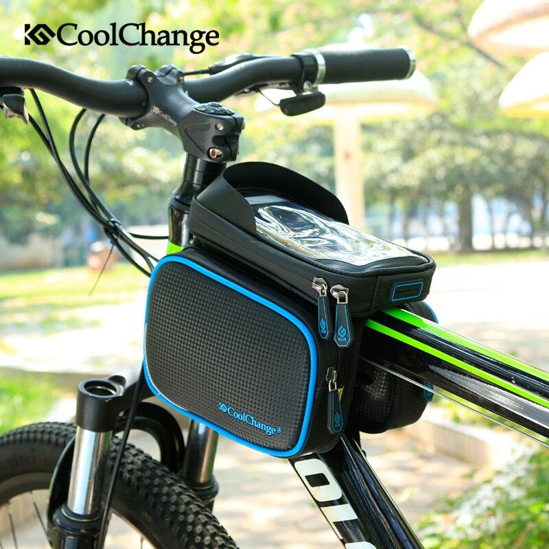Cool Change Bike Front Frame Bag Cycling Bicycle Phone Bag Bike Top Tube Bag Phone Case Holder Handlebar Bags Cycling
