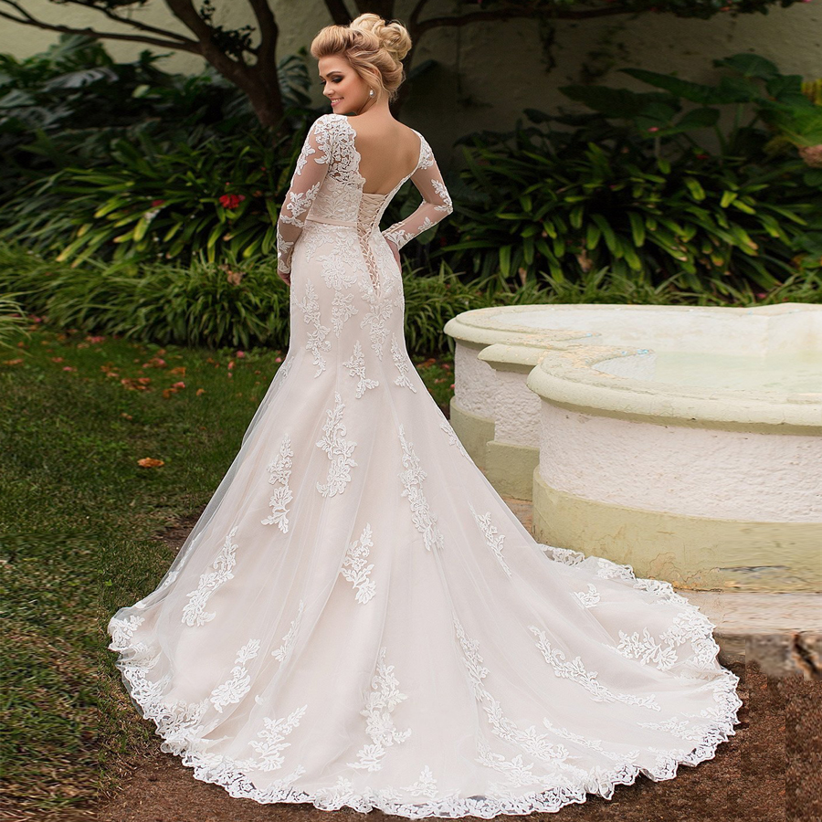 ADLN Elegant Long Sleeves Lace Wedding Dress Lace-up back Tulle Mermaid Bridal Gowns Vestidos De Novia New Arrival