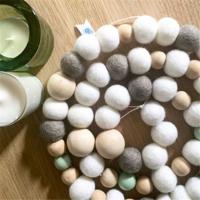 Nordic Nursery 55PC Wooden Bead Garland Home Decor Kids Room Wall Hanging Decorations Ivory Yarn Tassel, Gallery Baby Mobiles