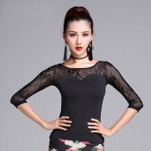 New Black Modern Lace Half sleeve sexy Latin Dance clothes top for women/female, Tango Ballroom Costume performance wear MD7200