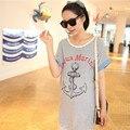 Ropa de maternidad Las Mujeres Embarazadas Ropa de Verano Camisetas de manga Corta Floja Ocasional Anclajes de Rayas de Algodón Suave camiseta T678