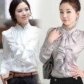 Promoção Blusas Blusas Roupas Femininas 2015 Primavera Nova Fêmea Longo-sleeved Senhoras Colarinho Da Camisa Com Babados Moda Profissional