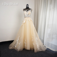 Champagne Ivory Lace Wedding Dresses Real Photo Short Cap Sleeve A Line Appliques Santorini 001