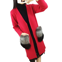 2016 Hot Sale New Women Autumn Cashmere Cardigan V Neck Knit Shirt Slim Korean Version Coat