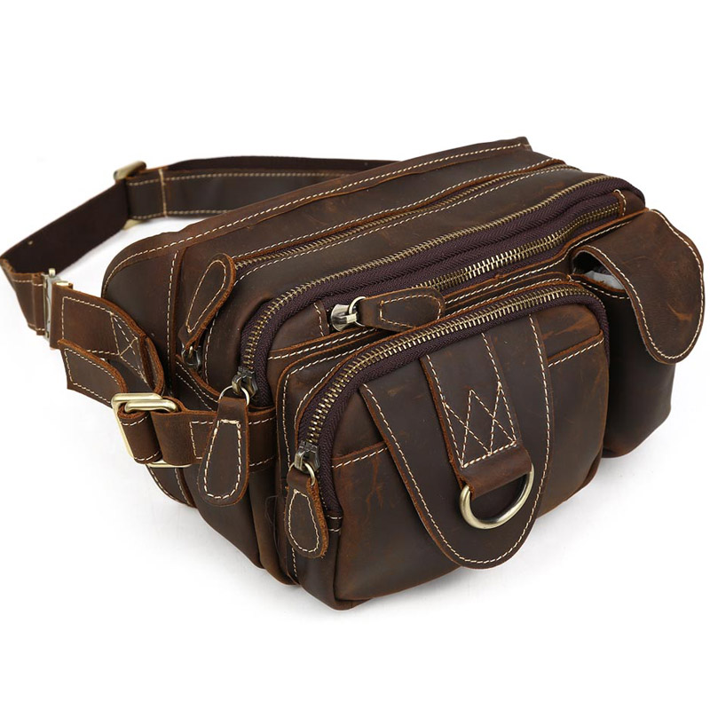 Фотография TIDING Crazy horse Leather Waist Packs with Multi-pocket Top quality Vintage Style Fanny Bum Bag 3145