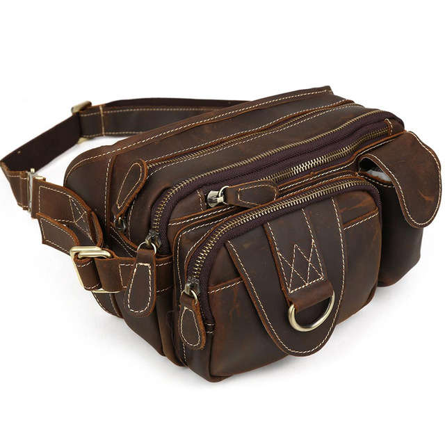 TIDING Crazy horse Leather Waist Packs with Multi-pocket Top quality Vintage Style Fanny Bum Bag 3145
