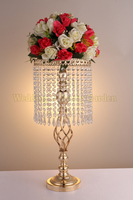 58cm Tall Crystal Centerpiece Gold Wedding Flower Stand Wedding Decoration