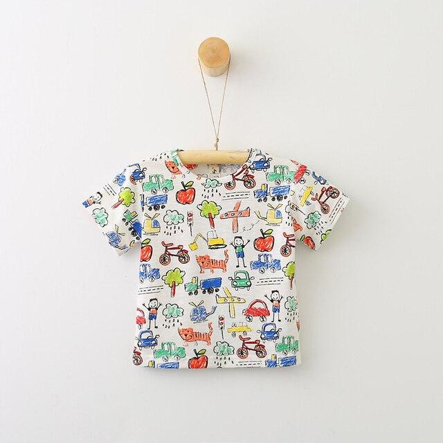 Children Girls Cotton Summer Rooster Print T Shirts Baby Boy Animal