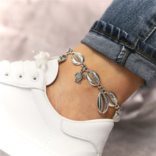 Summer Beach Shell Anklet Silver Color Turtle Conch Pendant For Women Boho Jewelry