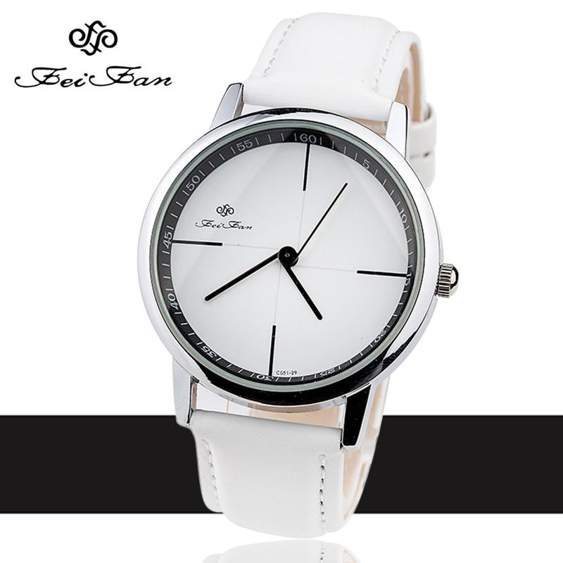 Simple Style Watches Men Women Leather Strap Quartz-watch 2016 Fashion FEIFAN Brand Black White Wristwatches Quartz Watch Gifts