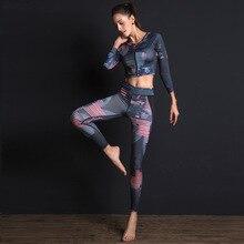 Kadın spor takım elbise baskı spor seti elastik ince spor giyim nefes Yoga seti 2 adet spor T shirt spor tayt eşofman