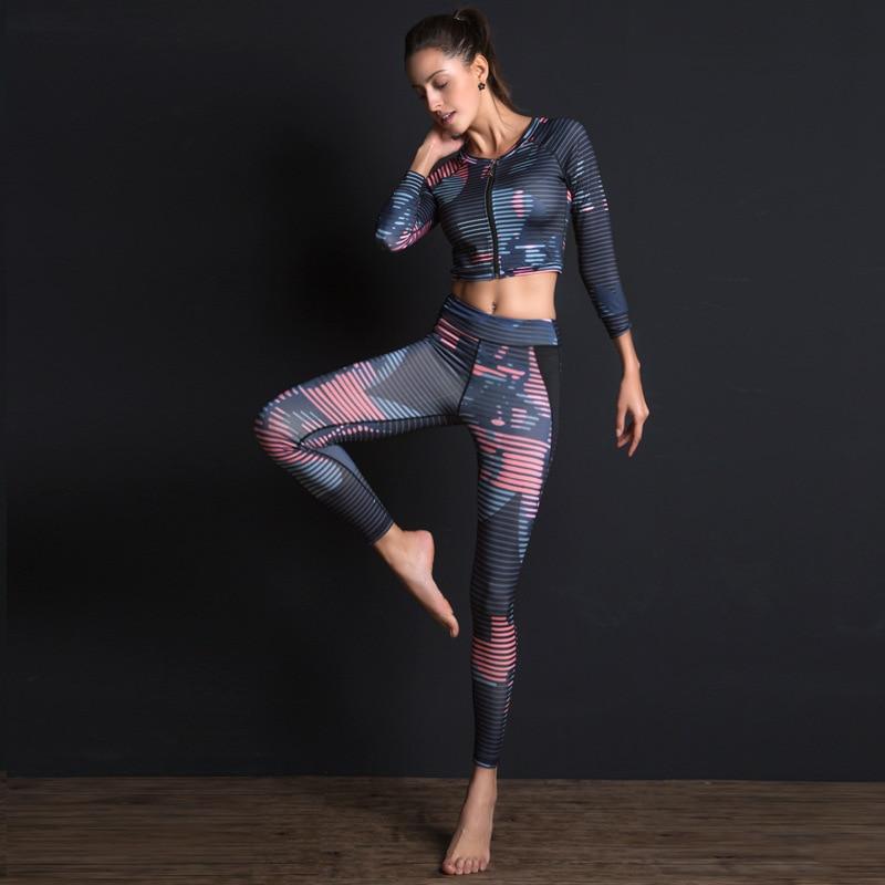 Women Sport Suit Print Fitness Set Elastic Slim Gym Clothes Breathable Yoga Set 2 Pc Sportswear T-shirt Sport Leggings Tracksuit