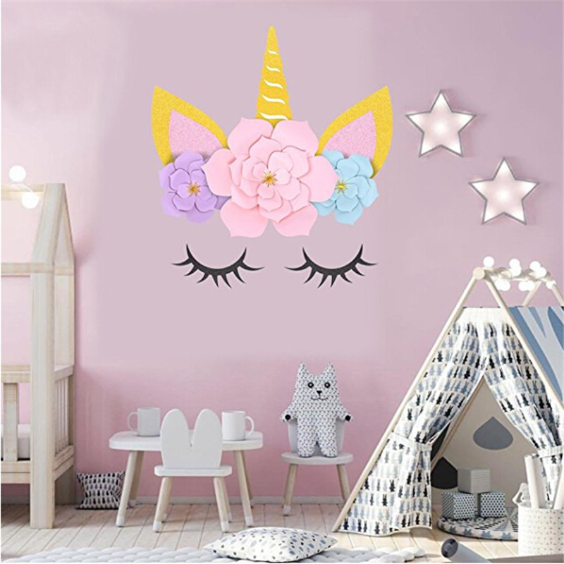 unicorn theme party horn ears paper eyelashes flowers wall