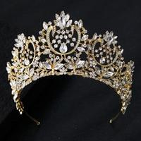 Luxury Crystal Baroque Queen King Big Crown Gold Silver Rhinestone Bridal Hair Accessories Wedding Crown Tiara Women Headpieces