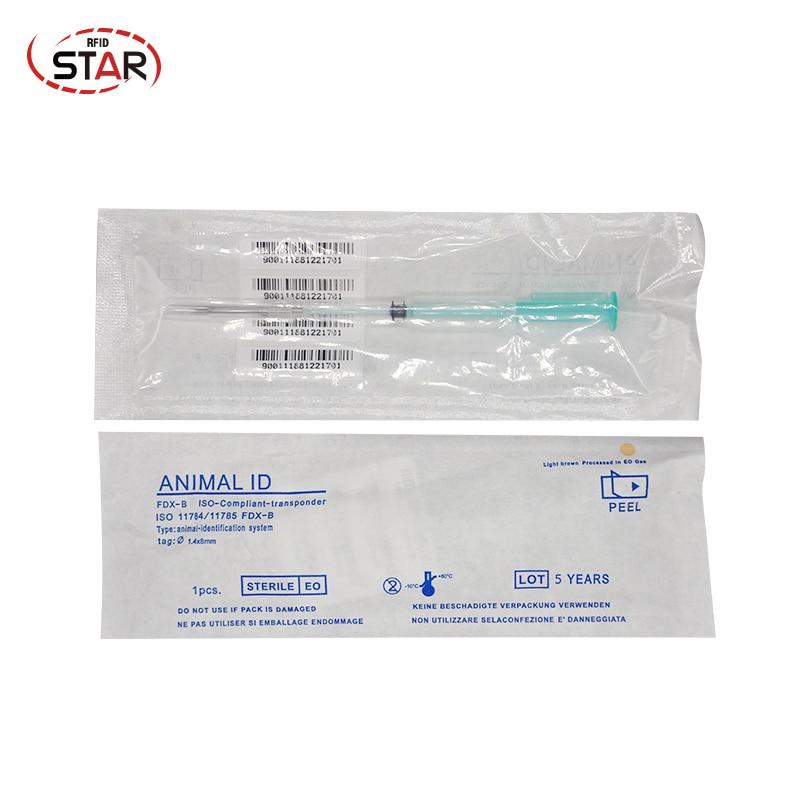 Puce RFID 1.4*8mm avec unité de seringue X1000 étiquette d'identification animale