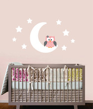 Owl On Moon and Stars Vinyl Wall Sticker Boy & Girl Pattern DIY Cute Wall Art Decals For Kids Room Decoration