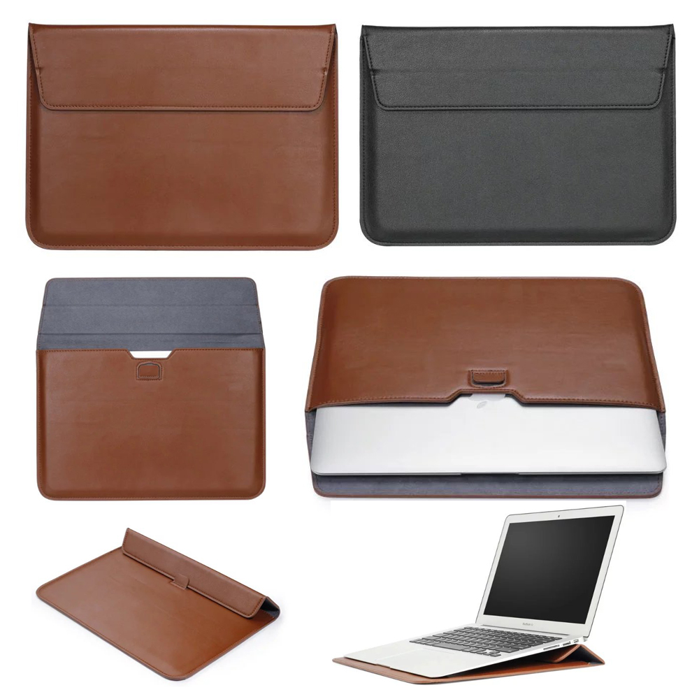 New Envelope PU Case For Macbook Air 11 Air 13 Laptop Sleeve Bracket Stand Funda for Macbook Pro 13 15 Retina 12 Laptop Sleeve