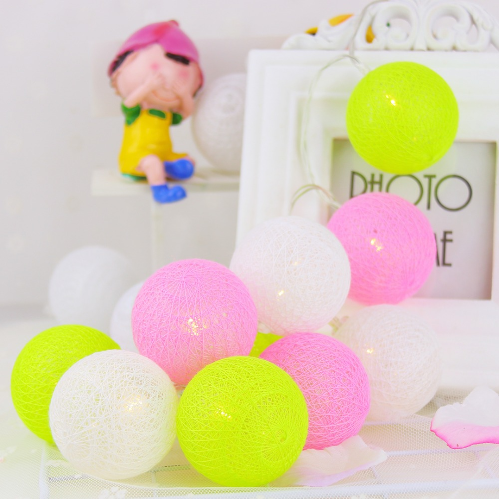 1M LED String Light 5cm Cotton Ball Holiday Lighting Fairy Baby Girl - Festlig belysning