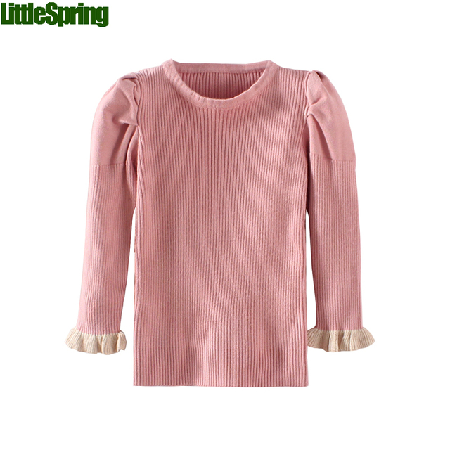 Toddler Girls Solid Puff Sleeve Sweaters Baby girls sweaters Bast Tops kids sweater for girl