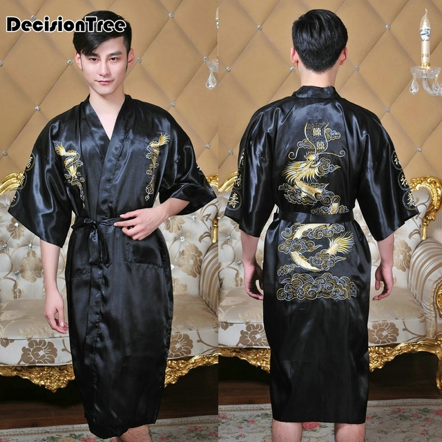25e818d757 2019 new robes men softness satin silk sleepwear male geomtric pattern  bathrobes long sleeve pijama sleeping robe