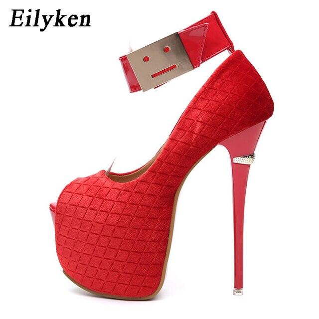 1c90fd87 Eilyken primavera Sexy mujer bombas plataforma tacones fiesta Peep Toe Hook  & Loop bombas zapatos boda Rojo Negro tamaño 34-40