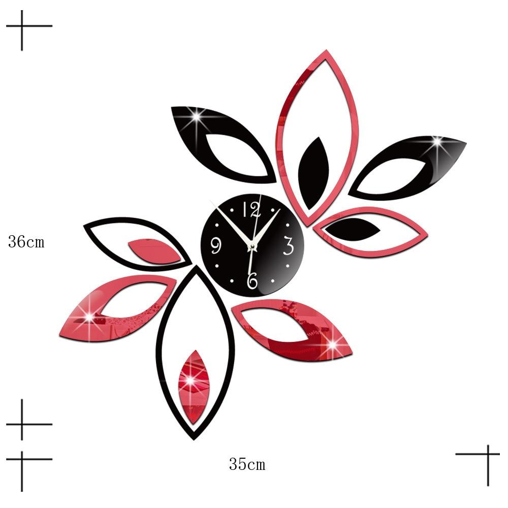 DIY Lotus pattern Wall Clock Removable mirror gold sliver wall sticker living room bedroom  Fashion clock