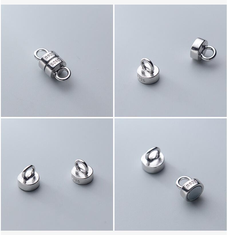 Fermoir /à anneau /à ressort en argent sterling 925/ovale pour collier de perles 20/mm