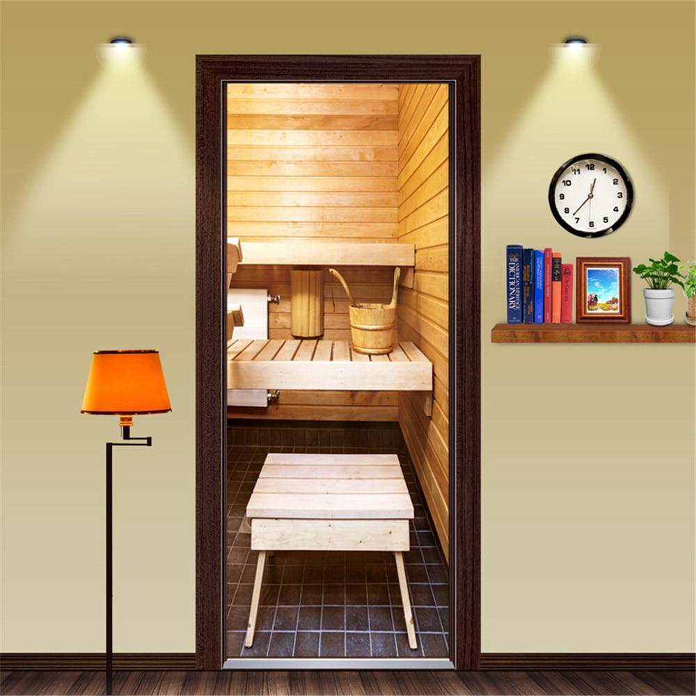 Custom Size/77X200CM Sauna Room PVC Door Sticker Self-adhesive Waterproof Wallpaper Door Decoration Mural For Livingroom Bedroom