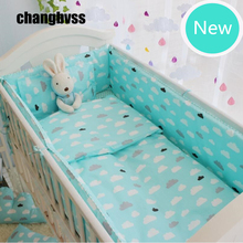 Soft Green Crib Bedding Set,Newborn Baby Cot Bedding Quilt Pillow Bumpers Sheet,Toddler Bed Liner Cot Bumper Nursery Bed Linen