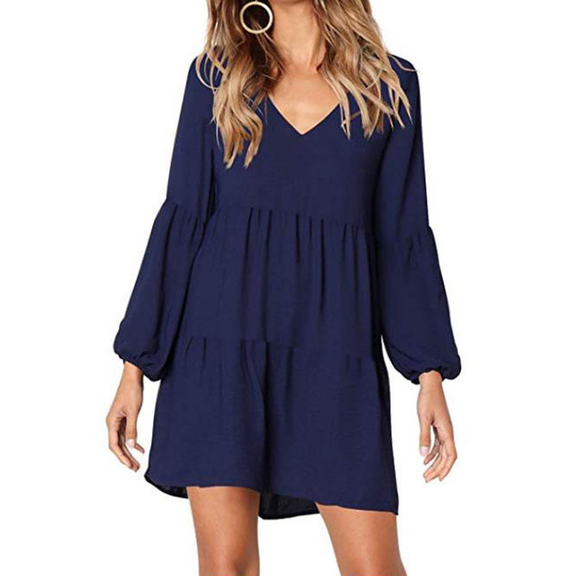 New fashion Women Solid Lantern Long Sleeve party dress V-Neck Draped Knee-Length Dress 1