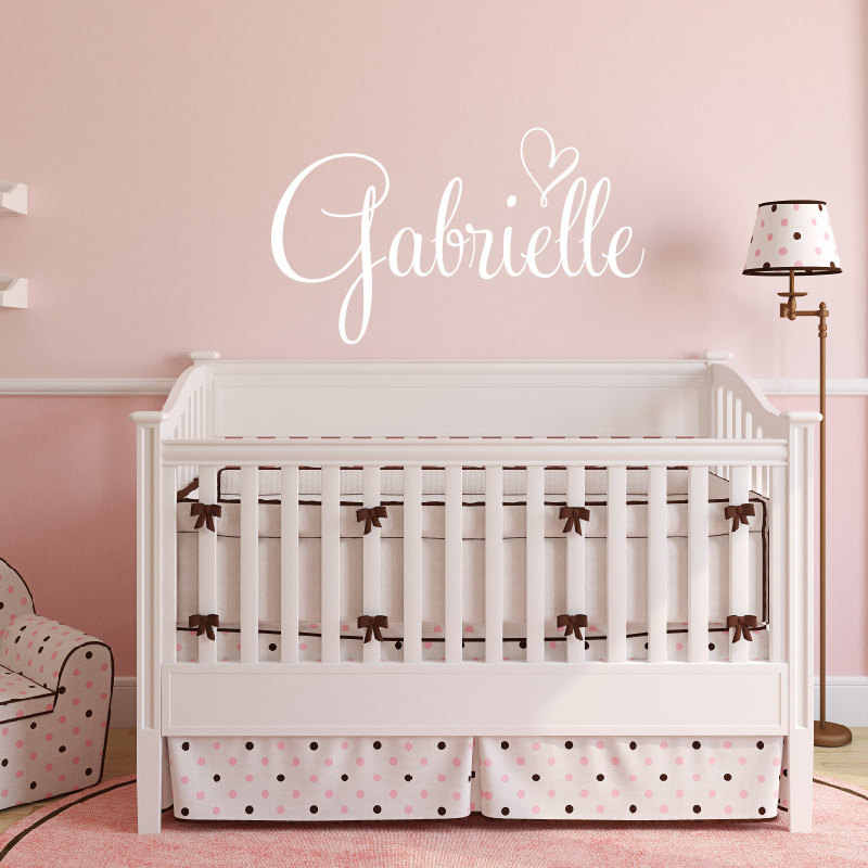 Personalized Kids Name Wall Decal Heart Nursery Monogram Sticker Baby Room Vinyl Wall Art Mural