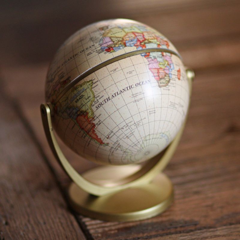 Vintage English Edition Globe World Map Decoration Earth Globes With Base Geography Classroom Home Office Decoration