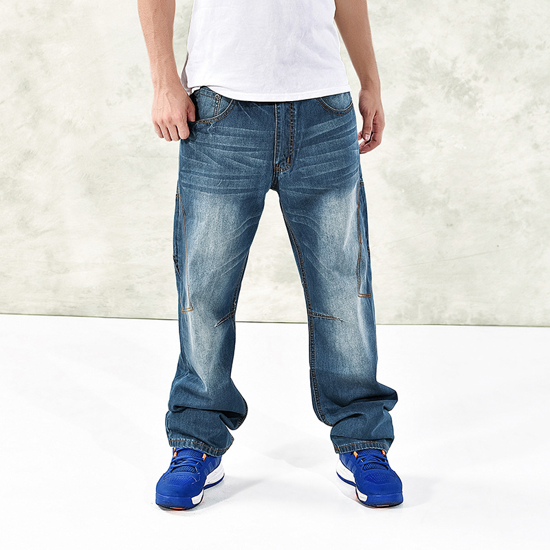 2017 Mens Cargo Jeans Pants Multi Pocket Hip Hop Designer Baggy Jeans Mens Loose Fit Casual Trousers Cotton Size 44 46 050304  mens casual blue jeans denim multi pocket loose outdoor straight legs cargo pants
