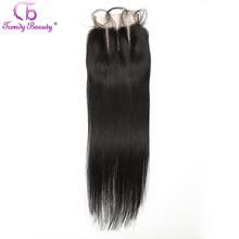 Trendy Beauty Brazilian Straight Three Middle Free Part Swiss Lace Closure 4x4 With Baby Hair 100