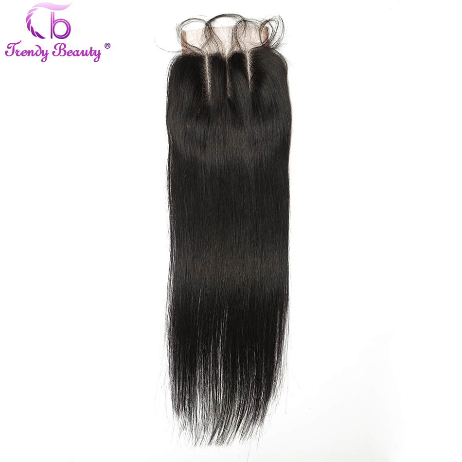 Trendy Beauty font b Hair b font Brazilian Straight 4x4 Three Part Swiss Lace Closure With