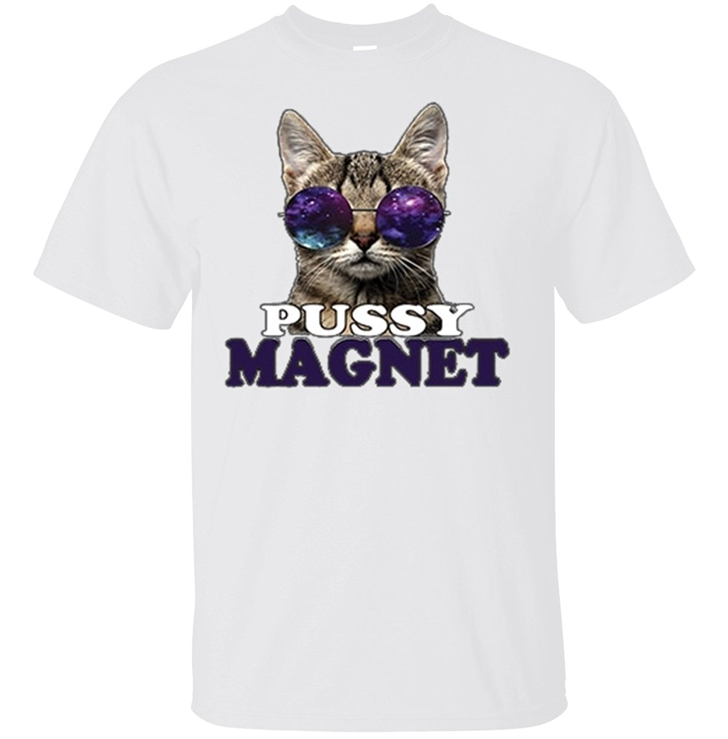 2018 Hot Summer Funny Cool Fashion Printed Hipster Tops Men'S T Shirt Men'S Pussy Magnet Cat Sunglasses Funny Meme T Shirt