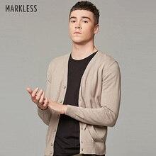 Markless весенний мужской свитер размера плюс S-6XL с v-образным вырезом мужской свитер хлопок вязаный кардиган pull homme sueter hombre