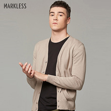 Markless 2019 Spring Sweater Men Plus Size S-6XL V-neck Mens Sweater 100% Cotton Knitting Cardigans pull homme sueter hombre