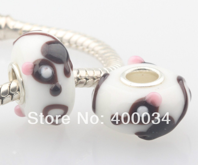 DW051 Pink Ears Mouse Glass Beads Charm Fit for 3MM European Fashion...