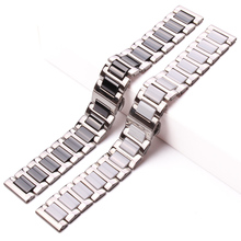 Middle Ceramic Links Stainless Steel Bracelet 16mm 18mm 20mm Men Women White Black Watchband Strap Metal  Double Push Clasp