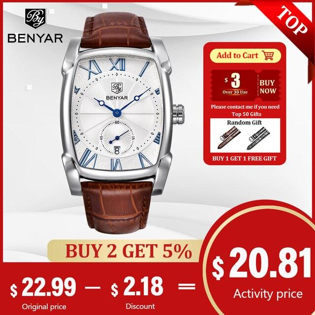 Benyar 2017, роскошная фирма, кварцевые мужские часы, фирменные мужские военные, кожа, мужские спортивные часы, час, дата, водонепроницаемые, мужс...