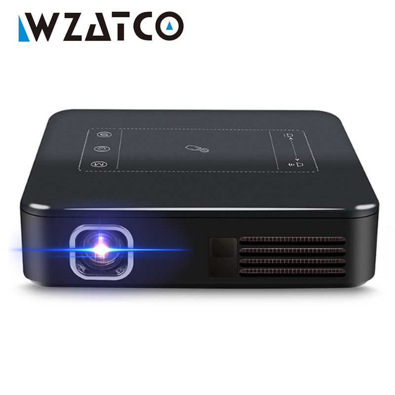 WZATCO D13 Android 7 1 Mini Pocket Projector 4K Smart Pico DLP Portable LED WIFI Built