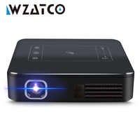 WZATCO-miniproyector de bolsillo D13 para cine en casa, DLP, portátil, 4K, Android 7,1, LED, WIFI, batería integrada