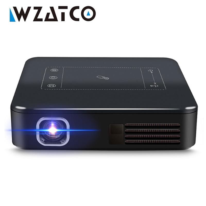 WZATCO D13 Android 7.1 mini projektor kieszonkowy 4K inteligentny Pico DLP przenośny LED WIFI wbudowany akumulator kino domowe beamer Proyector