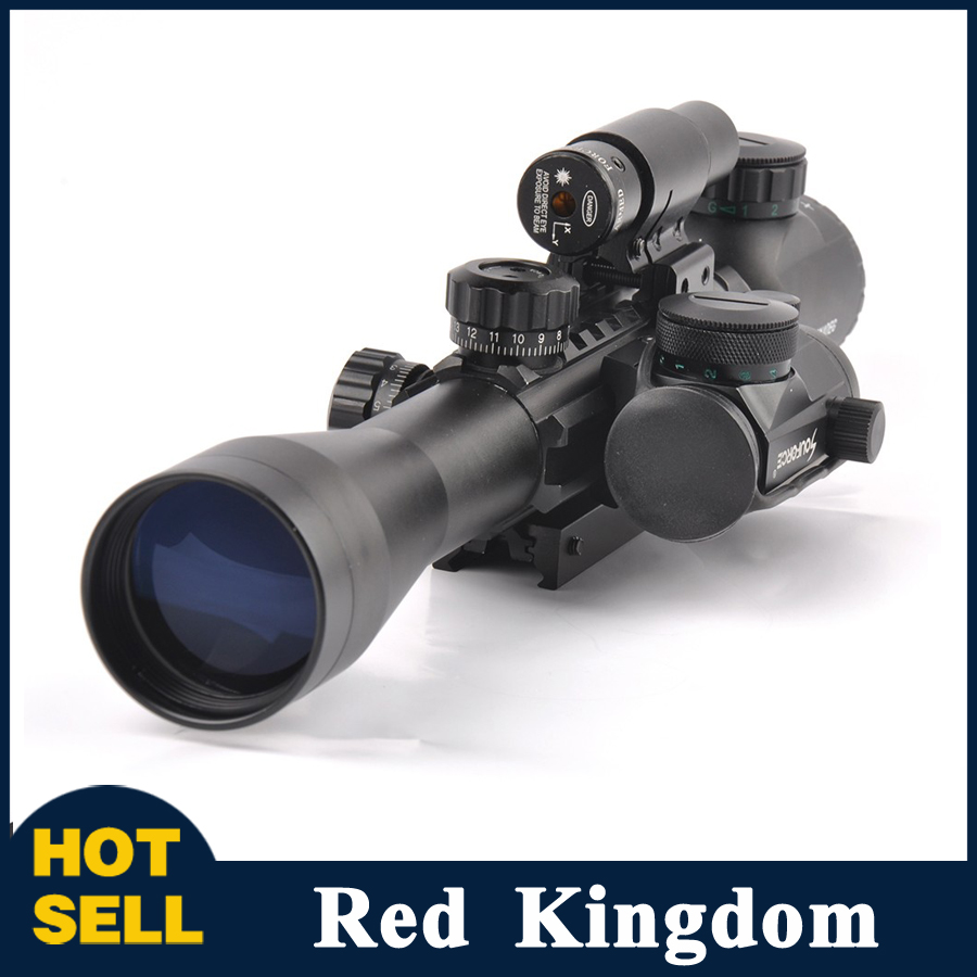 3-9X40EG Illuminated Tactical Rifle Scope with Red Laser & Holographic Dot Sight For Airsoft Hunting hunting red dot sight tactical 3 9x40dual illuminated mil dot rifle scope with green laser sight combo airsoft weapon sight