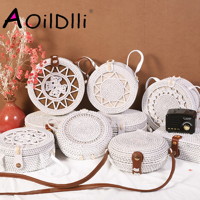 Bali Island Hand Woven Bag Round Bag buckle Rattan  Straw Bags Satchel Wind Bohemia Beach Circle Bag rose gold weed grinder