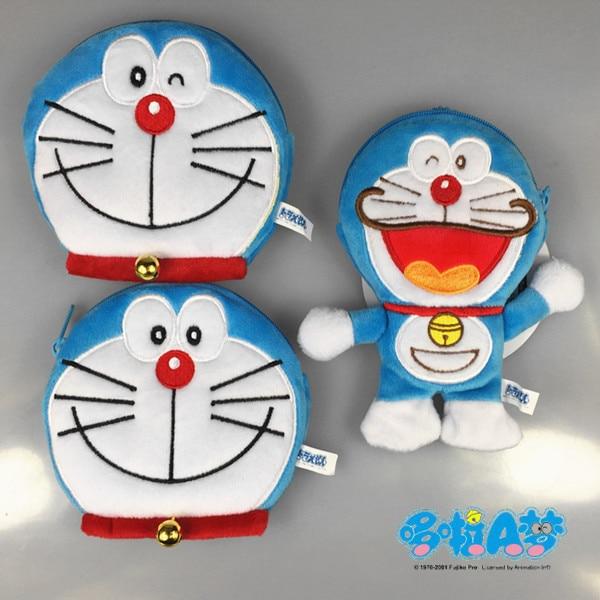 Doraemon fuzzy Plush Coin Purse Blue Fat Change Bag Coin Bags handbag zip money card storage holder 14x8.5cm new