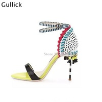 Newest 2018 Woman Tassel Fringe Candy Sandals Eye catching Covered 10 CM High Heel Stiletto Striped Buckled Ankle Strap Shoes