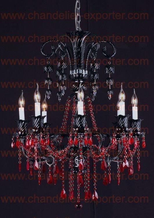 Aliexpresscom Buy Black Crystal Chandeliers With Red Crystal - Chandelier crystals red