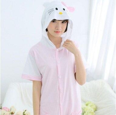 Spring summer cartoon animal conjoined short sleeve ladies cotton cute pyjamas KKT cat home